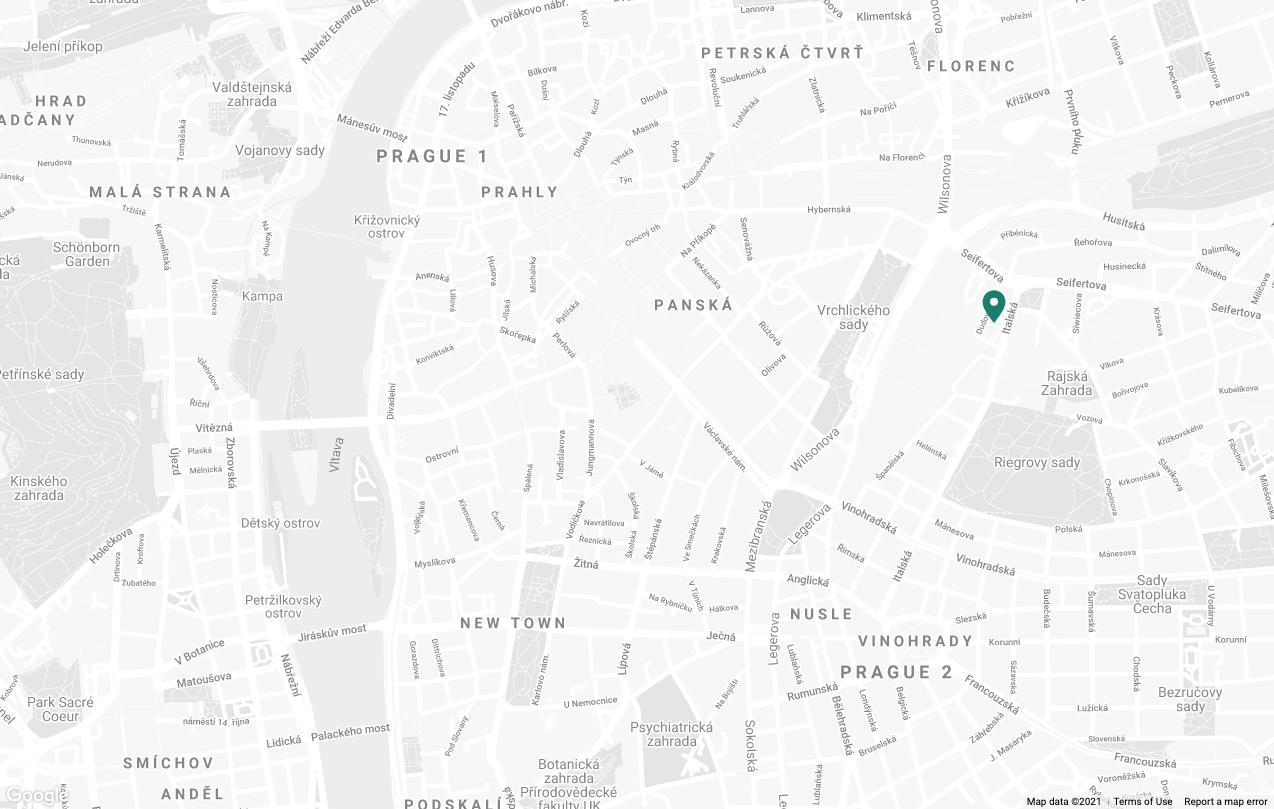 Mapa s místem kanceláře Upvest